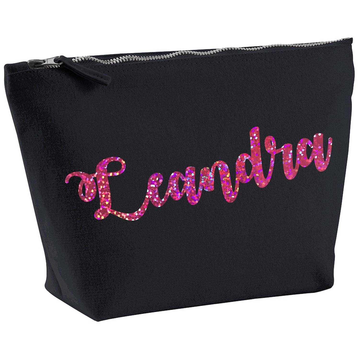 Leandra Personalised Name Cotton Canvas Black Make Up with a Holographic Pink Print Accessory Bag Wash Bag Size 14x20cm. The perfect personalised Gift for All occasion, Christmas, Birthdays, C S PRINTING LIMITED