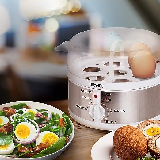 Duronic EB35 Cocedor de Huevos Eléctrico 350W con Capacidad de 1 a 7 Huevos Cocidos, Duros, Mollet y Pasados por Agua, 2 Tipos de Huevos a la Vez: Amazon.es: Hogar