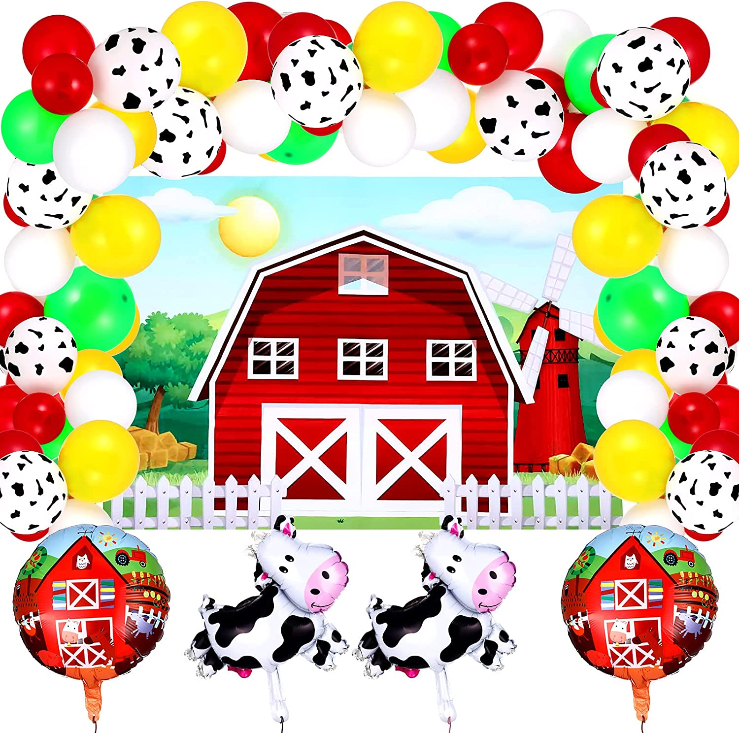 Farm Animals Theme Party Decorations Includes Cartoon Red Farm Animals Party Backdrop and Cow Foil Balloon Colorful Latex Balloon Red Farm Foil Balloon for Birthday Party Baby Shower