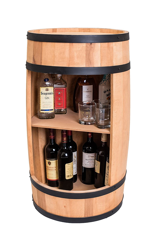 Botte vino con scaffalatura, 81cm, design casa e bar, portabottiglie, barile 81cm weeco
