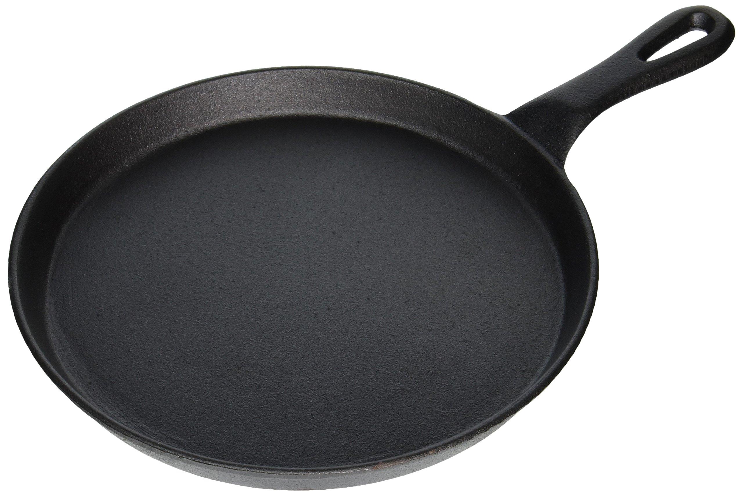 Winco Round Cast Iron Grill Pan, 10-Inch, Black Finish