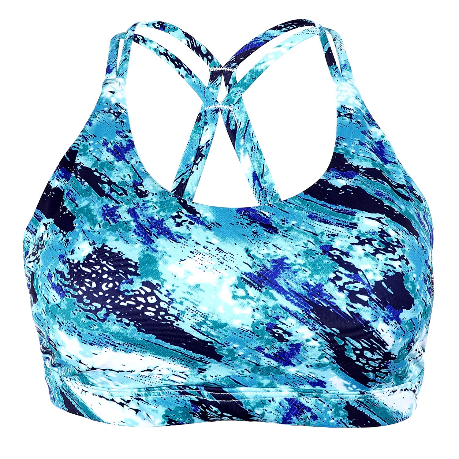 CharmLeaks Womens Strappy Sports Bras Light Support Printed Workout Yoga Bra