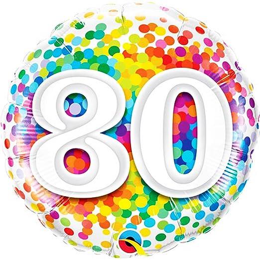 Qualatex Globo redondo 80 cumpleaños diseño confeti (46cm ...