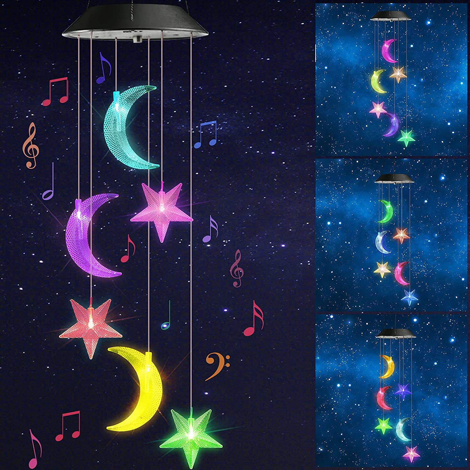 Toodour Solar Wind Chimes, Color Changing Solar Moon and Star Wind Chimes, LED Decorative Mobile, Waterproof Outdoor String Lights for Garden, Patio, Party, Yard, Window