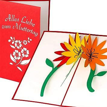Muttertag Karte.Muttertagskarte Mit 3d Blumen Motiv Alles Liebe Zum Muttertag