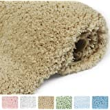 Norcho Soft Area Rug with Non-slip Rubber, Luxury Bathroom Decor for Livingroom Bedroom, Machine Washable 80 x 50cm Khaki