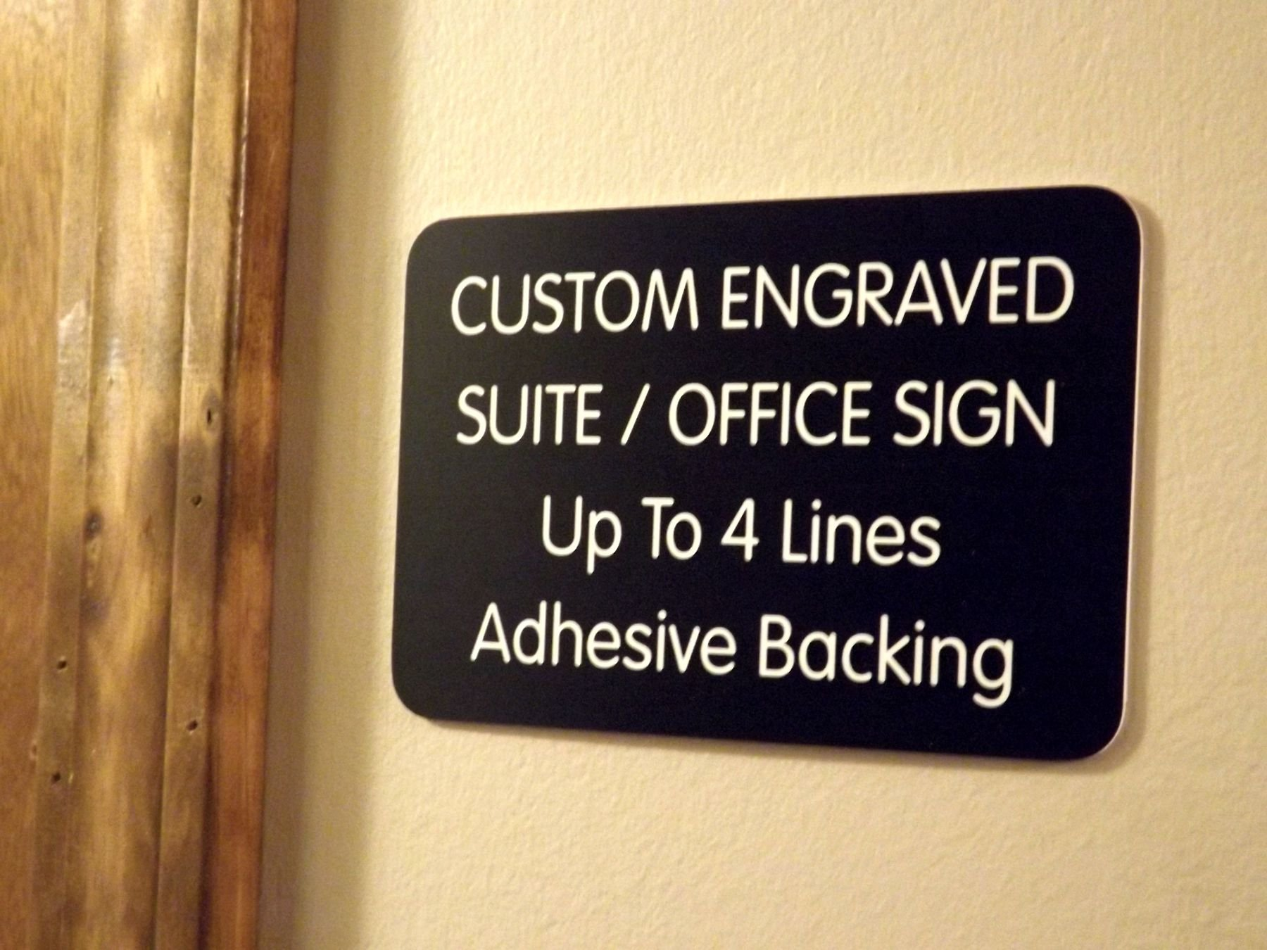 Custom Engraved 4x6 Black w/ White Lettering Door Suite Wall Sign | Name Plate | Personalized Wall Plaque | Business Doctor Law Firm Home Office Cafe Shop | Up to 4 Text Lines | Adhesive Backed by Jay Graphics (Image #1)