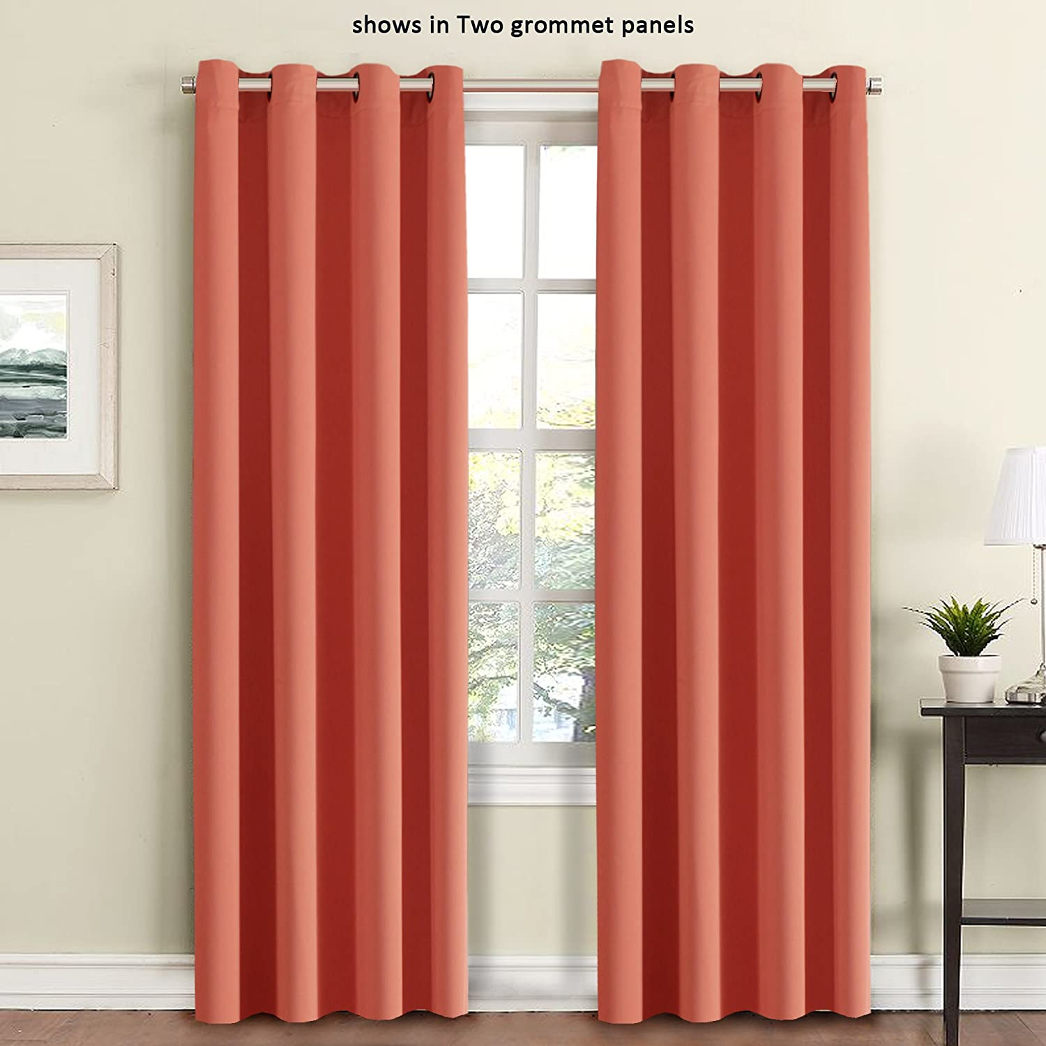 FlamingoP Thermal Insulated and Heating Against Grommet Top Blackout Curtains/Drapes, One Panel Coral