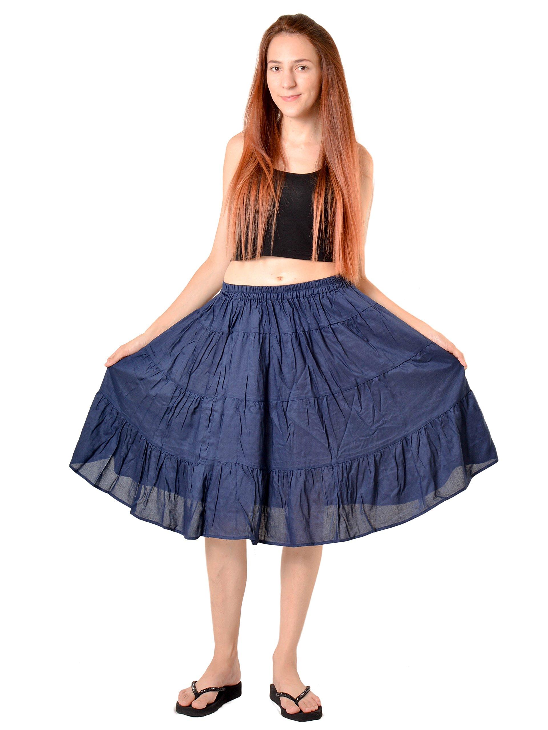 Orient Trail Women's Hippie Bohemian Boho Knee Length Skirt Medium Dark Blue by Orient Trail (Image #2)