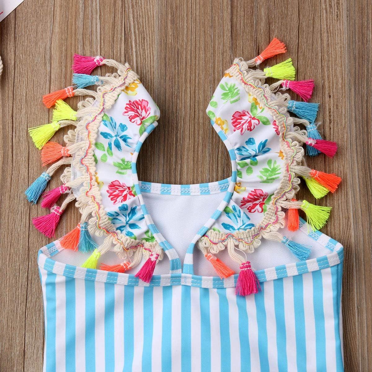 Kids Toddler Baby Girl One Piece Swimsuit Beach Wear Striped Flamingo Tassels Swimwear Bathing Suits 0-6T