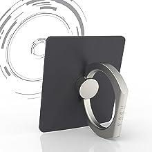 YOSH Finger Grip Anello Universale Supporto Smartphone✪ GARANZIA A VITA ✪ con 360 rotazione Anello Gancio per cellulare,smartphone,tablets. Anti-drop e chiusura antifurto (Nero)