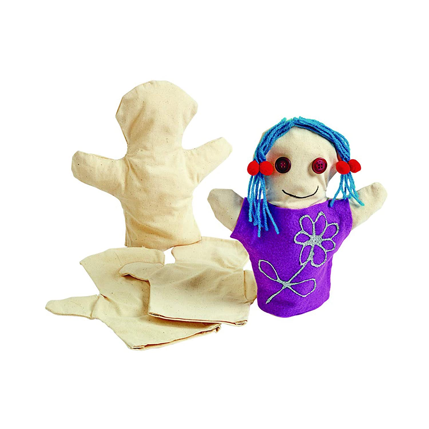 Colorations CANPUP Set of 12 Kids Decorate Your Own Canvas Hand Puppets, 9-1/7