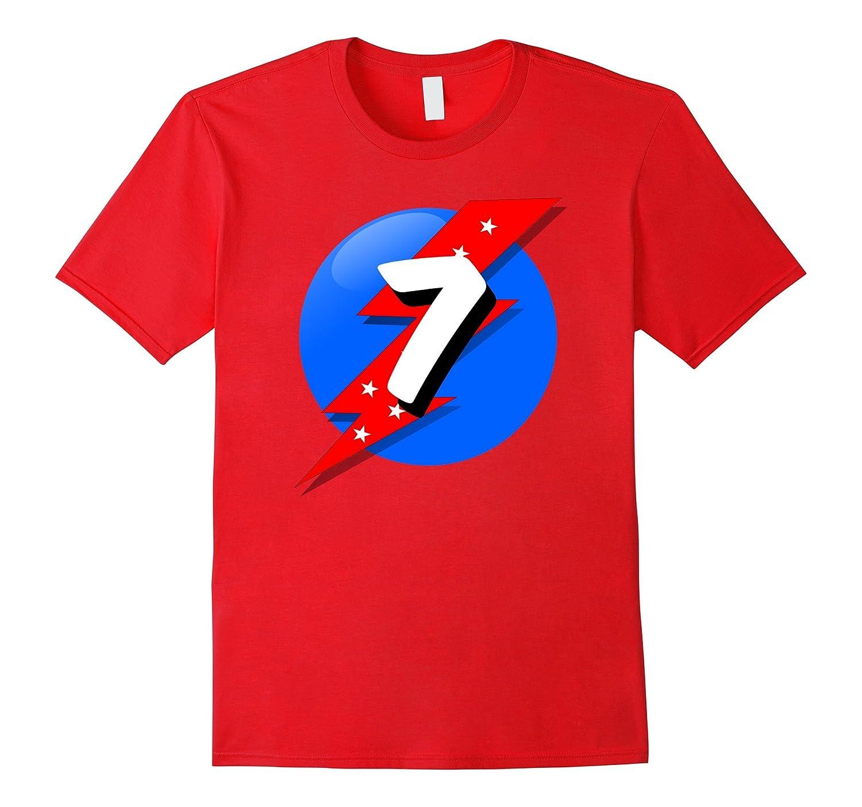7th Birthday Shirt Boy Superhero Style Seven Year Old Gift BN Banazatee