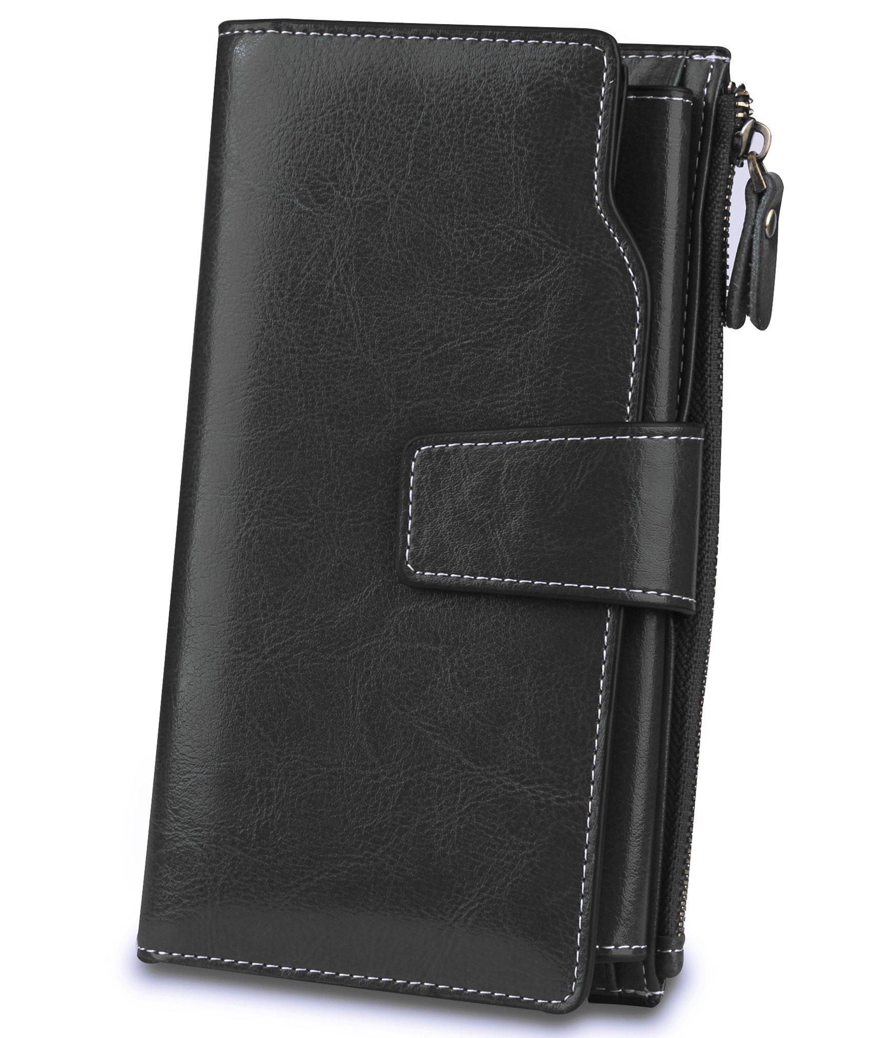 Women's Trifold Genuine Leather Wallet RFID Blocking Large Capacity Organizer Clutch Luxury Ladies Purse Credit Card Holder Black