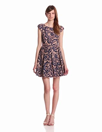 ABS Allen Schwartz Women's Pleated A Line Dress, Indigo/Tan, 0