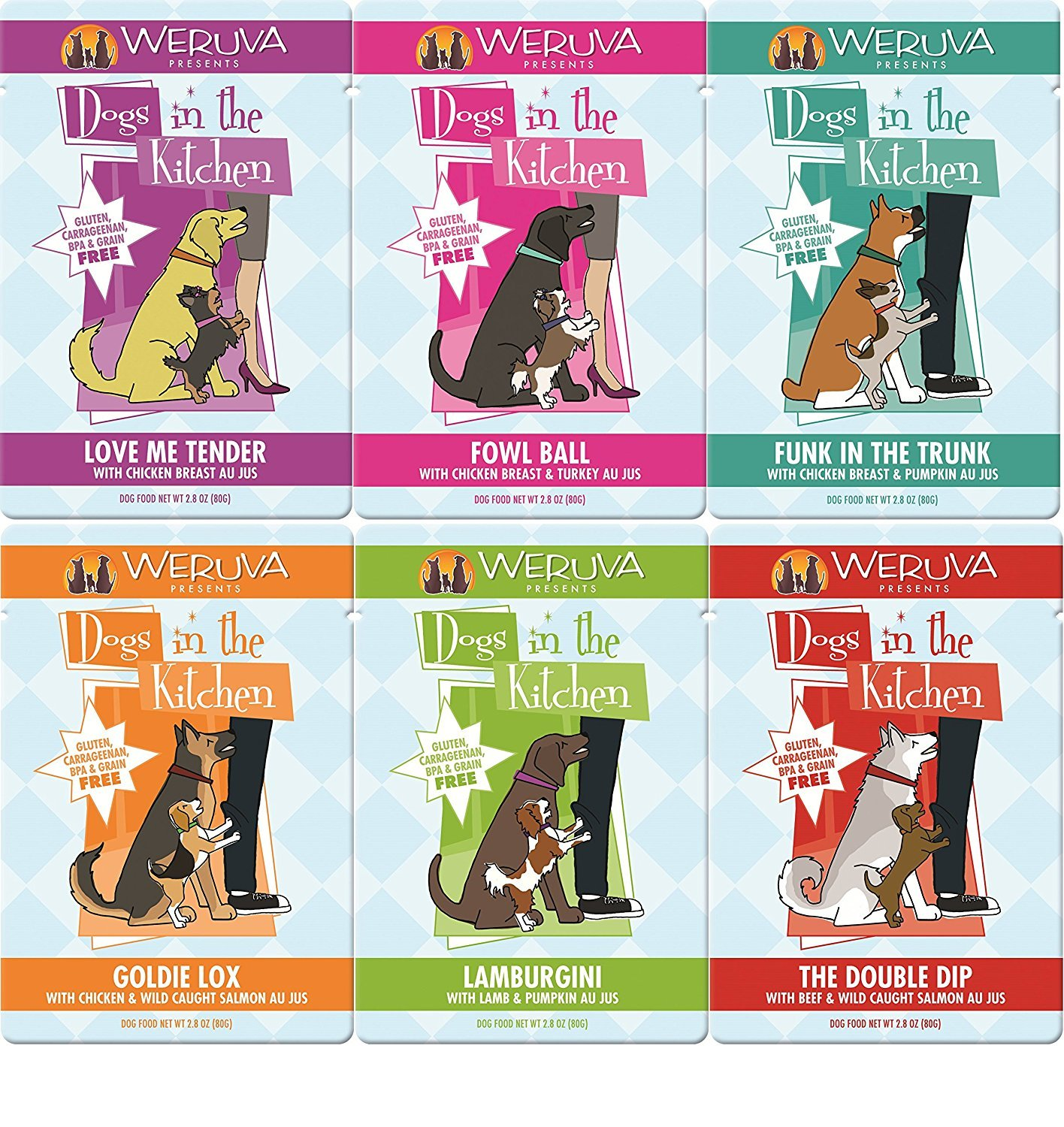 Dogs in the Kitchen By Weruva (Variety Pack 4 of each flavor, 2.8 Ounce Pouches (24 Pack) Fast Delivery, by Just Jak's Pet Market