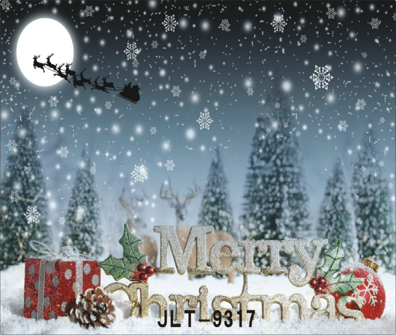 7X5FT-Merry Christmas Tree Photography Backdrops Snow Moon Photo Studio Background Tricandide TR-9317-220X150CM