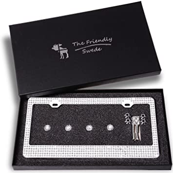 the friendly swede sparkle crystal bling car license plate frame with 8 crystal rows in gift