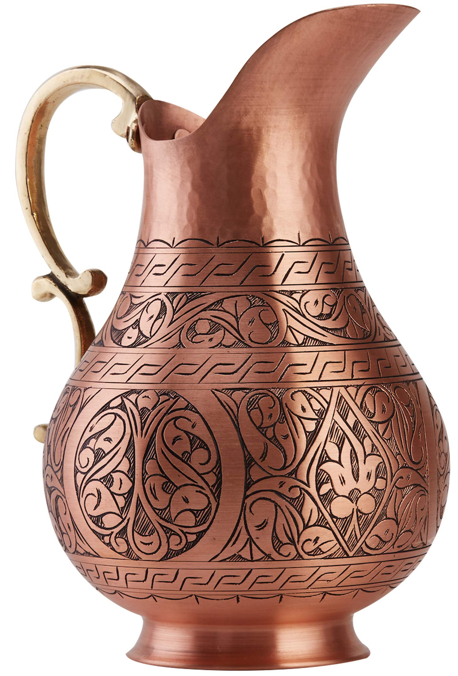 DEMMEX The Pitcher, 1mm Solid Copper Handmade Engraved Copper Pitcher Vessel Ayurveda Jug for Drinking Water, Moscow Mule, Cocktail (Matte-Engraved) by DEMMEX (Image #2)