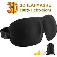 JayTop Premium Schlafmaske für Frauen und Herren - Schlafmaske für erholsamen Schlaf, 3D geformte Augenmaske - Schlafmasken-Set schwarz mit Ohrstöpsel, Aufbewahrungsbeutel (1 pack)