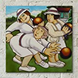 Bowlers by Beryl Cook 12x12 Decorative Ceramic Picture Tile Gift Plaque Officially Licensed Artwork
