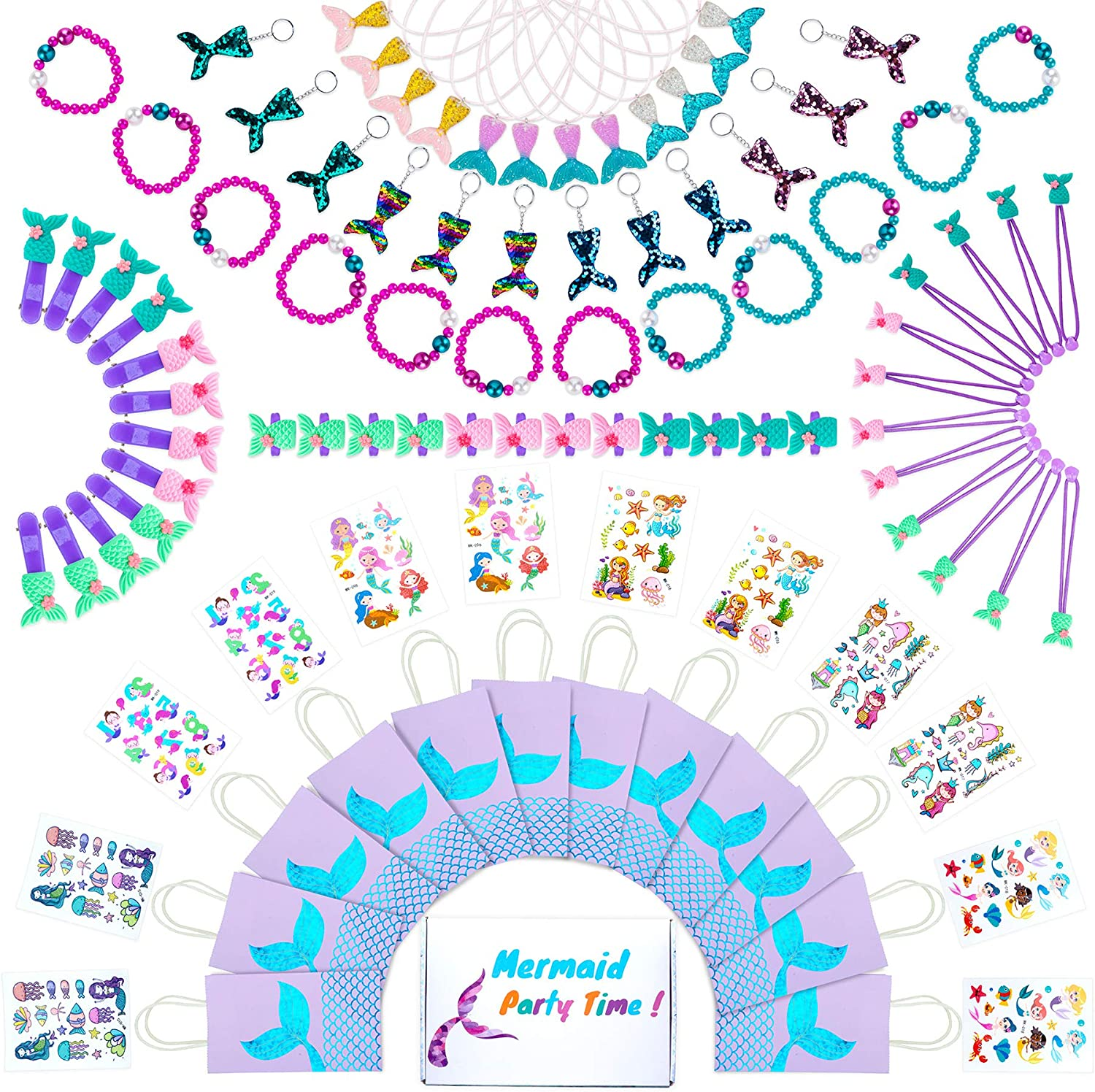 Mermaid Party Favors & Goodie Bags | Little Mermaid Birthday Supplies & Decorations Kit | Mermaid Themed Bracelet, Paper Candy/Gift Bag, Key Chains, Accessories Party Favor Set For 12 Kids/Girls