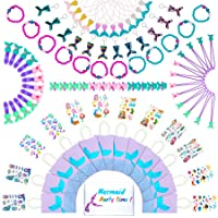 Mermaid Party Favors & Goodie Bags | Little Mermaid Birthday Supplies & Decorations Kit | Mermaid Themed Bracelet, Paper…