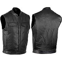 Chaleco de piel para moto bolsillo trenzado con hebilla chaleco con cierre de bot/ón lateral