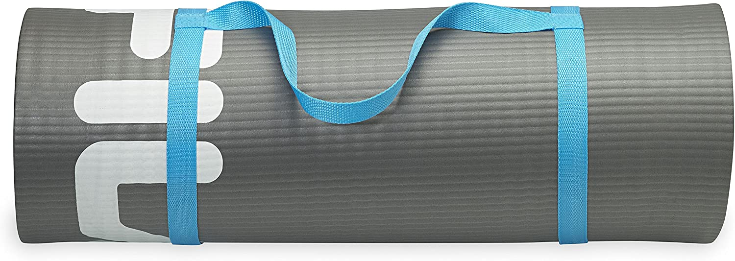 FILA Accessories Exercise & Fitness Mat Extra Thick for Yoga, Pilates & Floor Exercises, Grey, 10mm