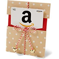 Amazon.com Gift Card in a Kraft Paper Reveal with Jingle Bells