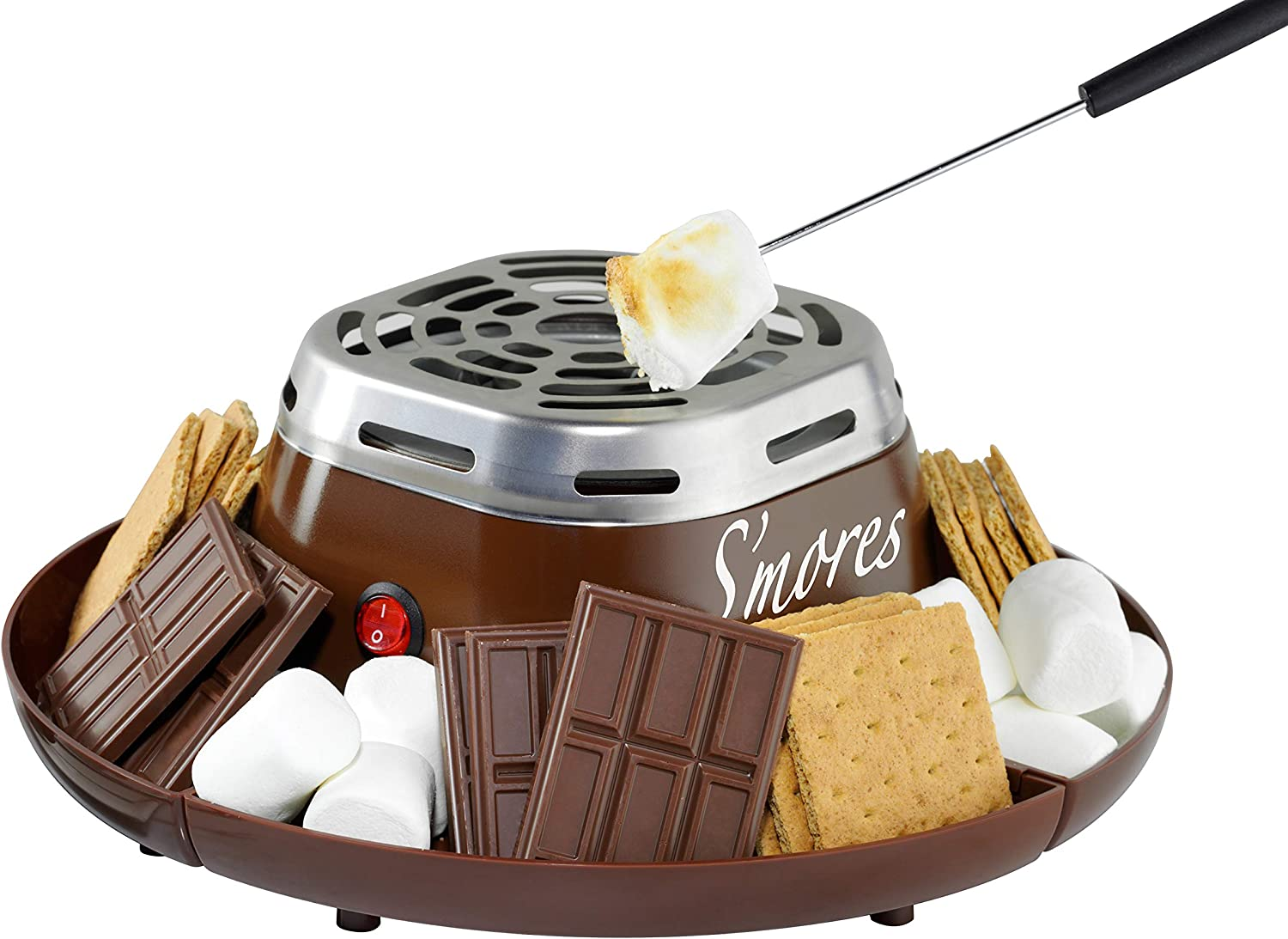 Nostalgia Indoor Electric Stainless Steel S'mores Maker with 4 Compartment Trays for Graham Crackers, Chocolate, Marshmallows and 2 Roasting Forks, Brown: Kitchen & Dining