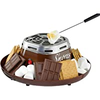 Nostalgia Indoor Electric Stainless Steel S'mores Maker with 4 Compartment Trays for Graham Crackers, Chocolate, Marshmallows and 2 Roasting Forks, Brown