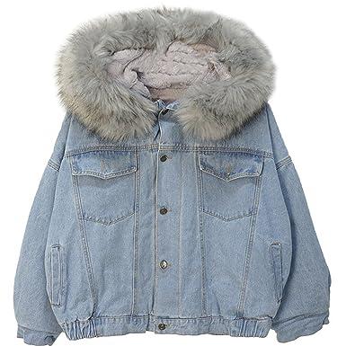 4afc11d2c30e Women s Denim Jacket Fleece Lined Furry Fur Trim Hooded Windbreaker ...