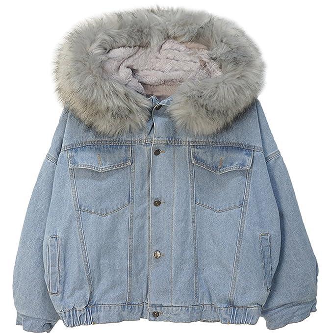 Women s Denim Jacket Fleece Lined Furry Fur Trim Hooded Windbreaker (Grey af103cf344