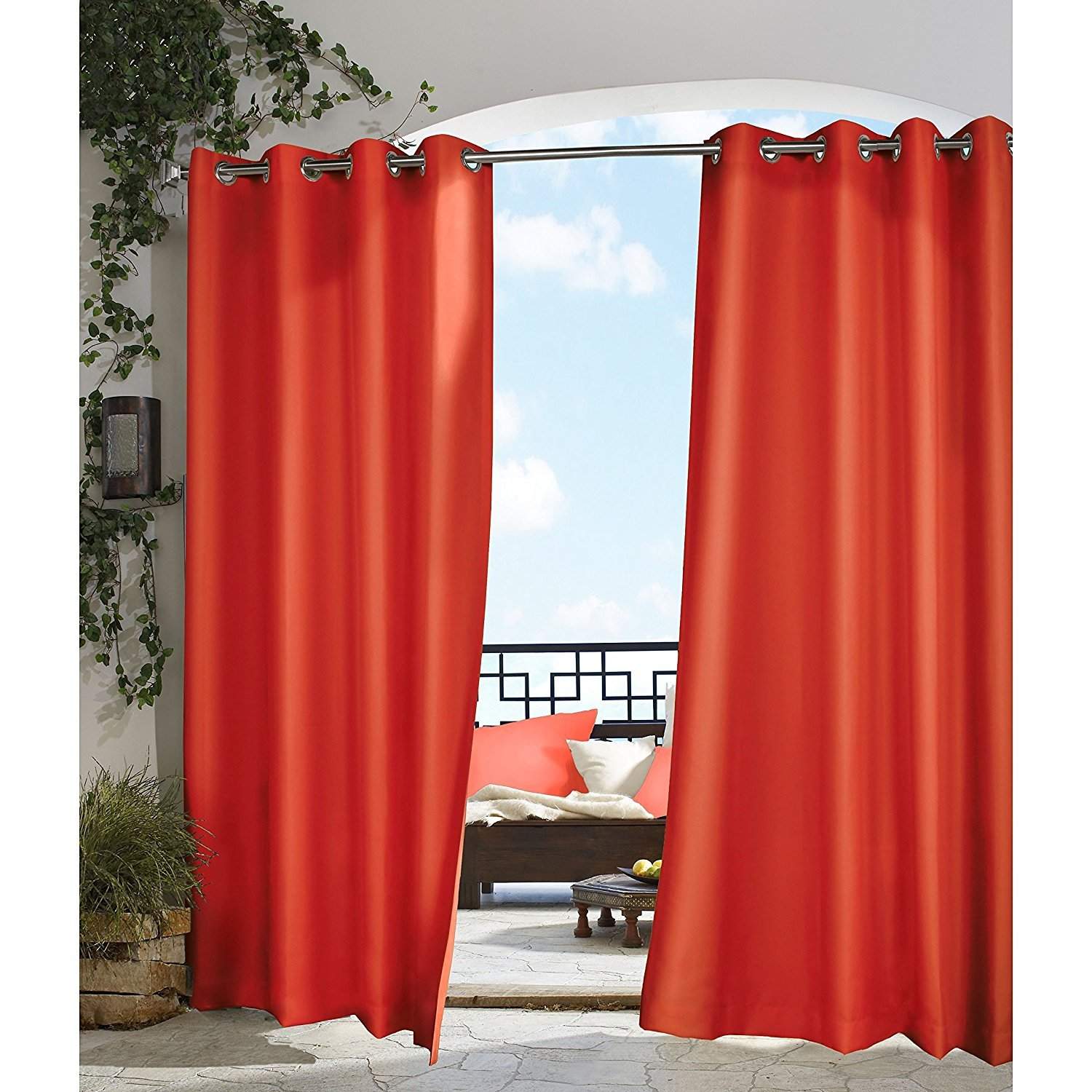 un 1pc 96 Outdoor Red Gazebo Curtain, Cabana Polyester, Light Red Color Outside Window Treatment Single, Indoor Patio Porch Deck Entrance Door Grommet Ring Top Doorway Pergola Drapes