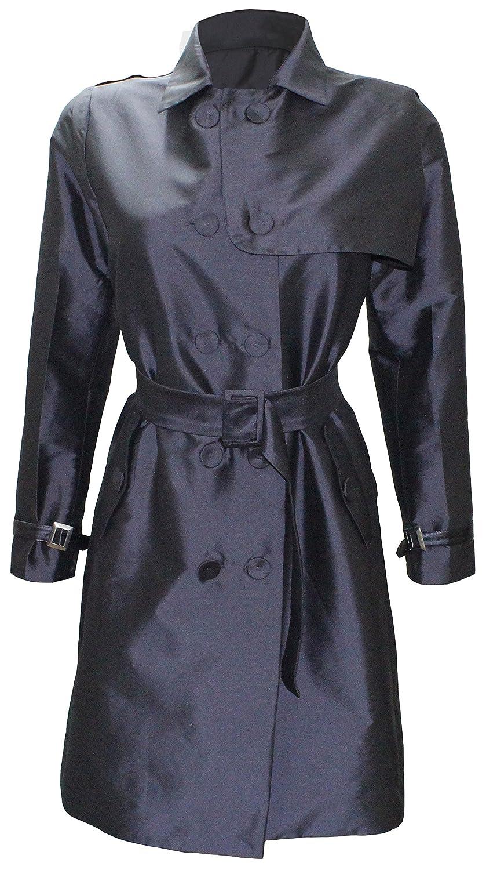 Attuendo Damen Limitierte Auflage Zweireiher Seiden Trench Coat