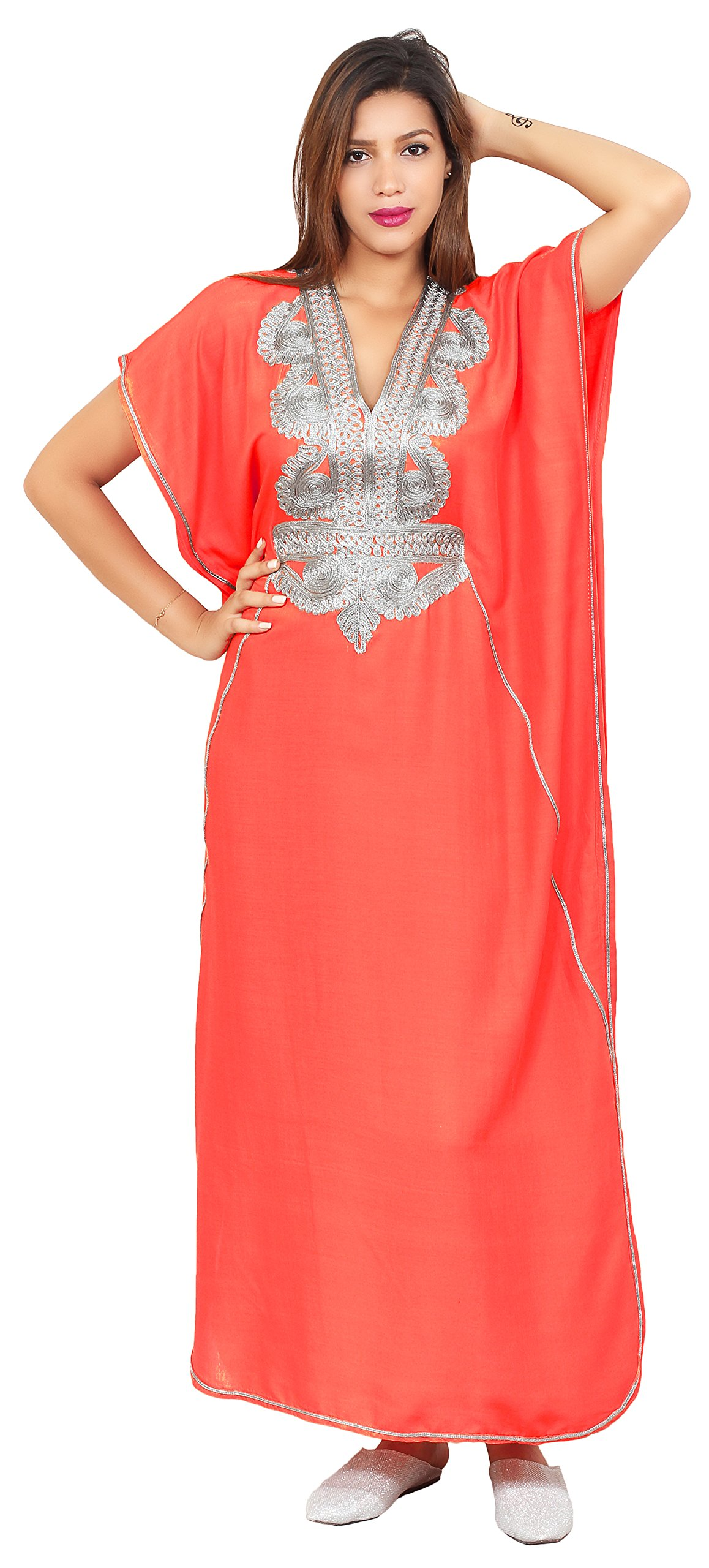Moroccan Caftan Handmade Cotton Silver Hand Embroidery Breathable Soft salmon