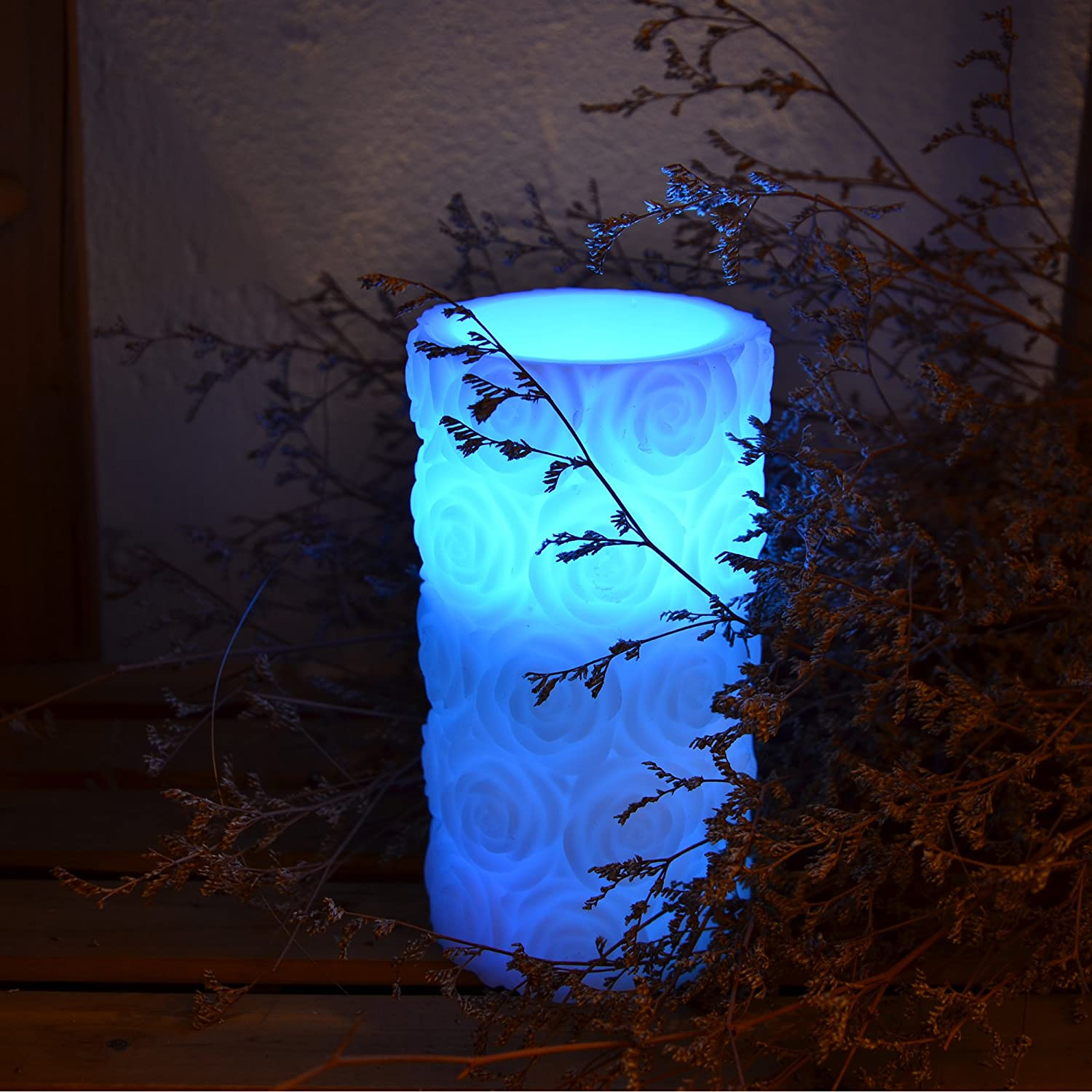 YAKii LED Color Changing Wax Candle with Rose Flower Carving for Christmas Decoration Ivory