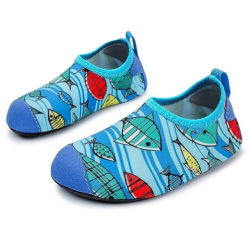 L-Run Zapatos de Piel descalza para el Agua de Secado rápido para niños Calcetines de Aqua para Surf Pool Yoga Beach Swim Exercise Fish: Amazon.es: Zapatos ...