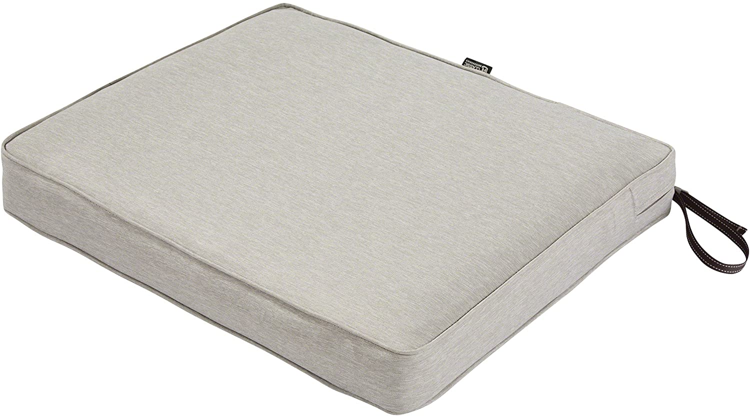 Classic Accessories Montlake Water-Resistant 21 x 19 x 3 Inch Patio Seat Cushion, Heather Grey