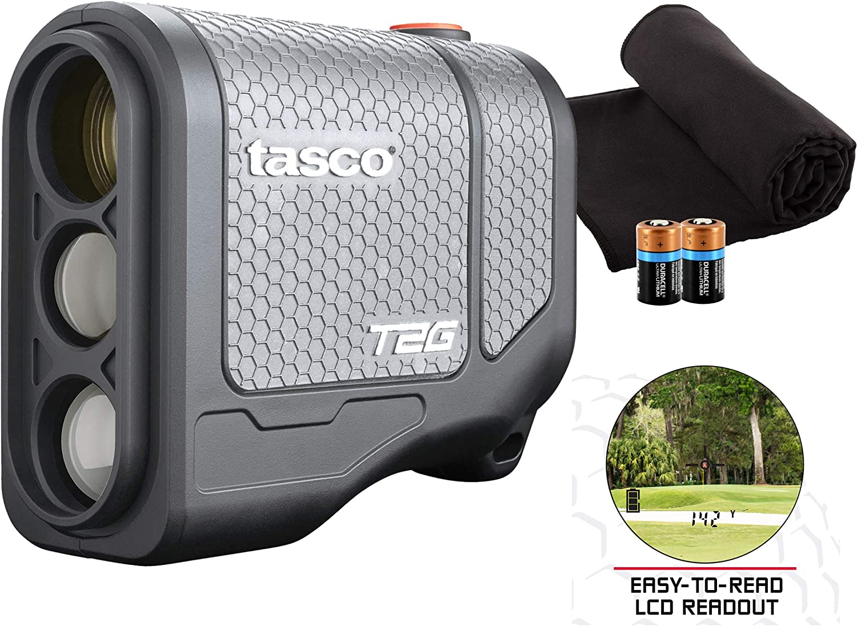 Tasco Tee-2-Green (Standard Version) Golf Laser Rangefinder PlayBetter Pack | 5X Mag, 1 Yard Accuracy, Scan Mode, Case (+Microfiber Towel & Two CR2 Batteries)