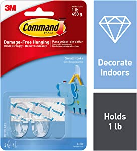 Command 1 lb Capacity Oval Hooks, Indoor Use, Small (17092CLR-ES)