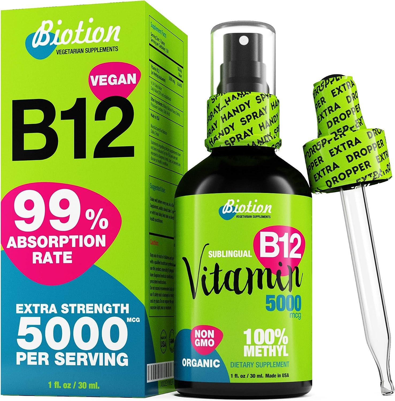 Vitamin B12 Sublingual Liquid Drops - Organic Methylcobalamin 5000 mcg - Methyl B-12 for Vegan - Energy Booster and Nervous System Support - US Made