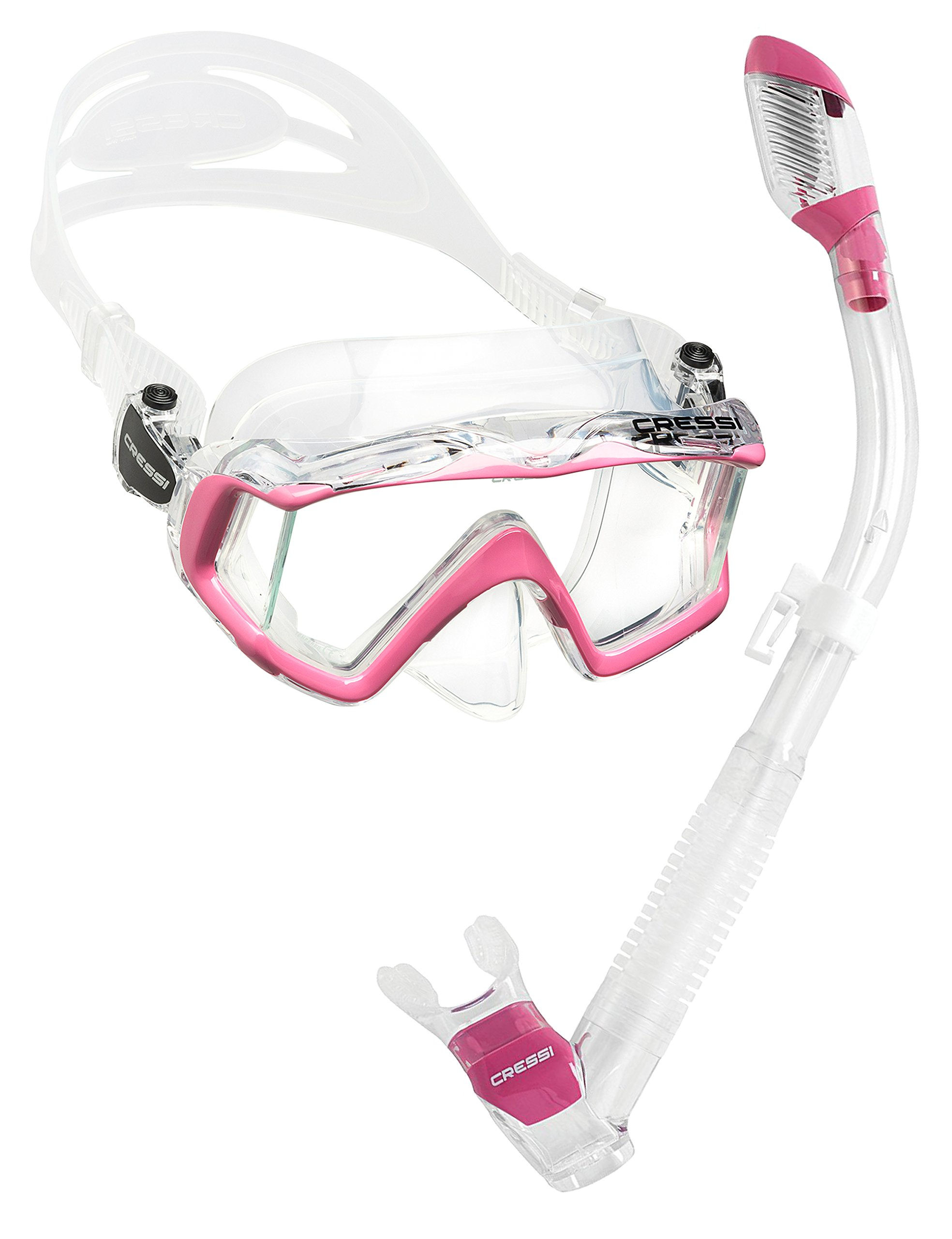 Cressi Panoramic Wide View Mask with Dry Snorkel Set, Clear Pink