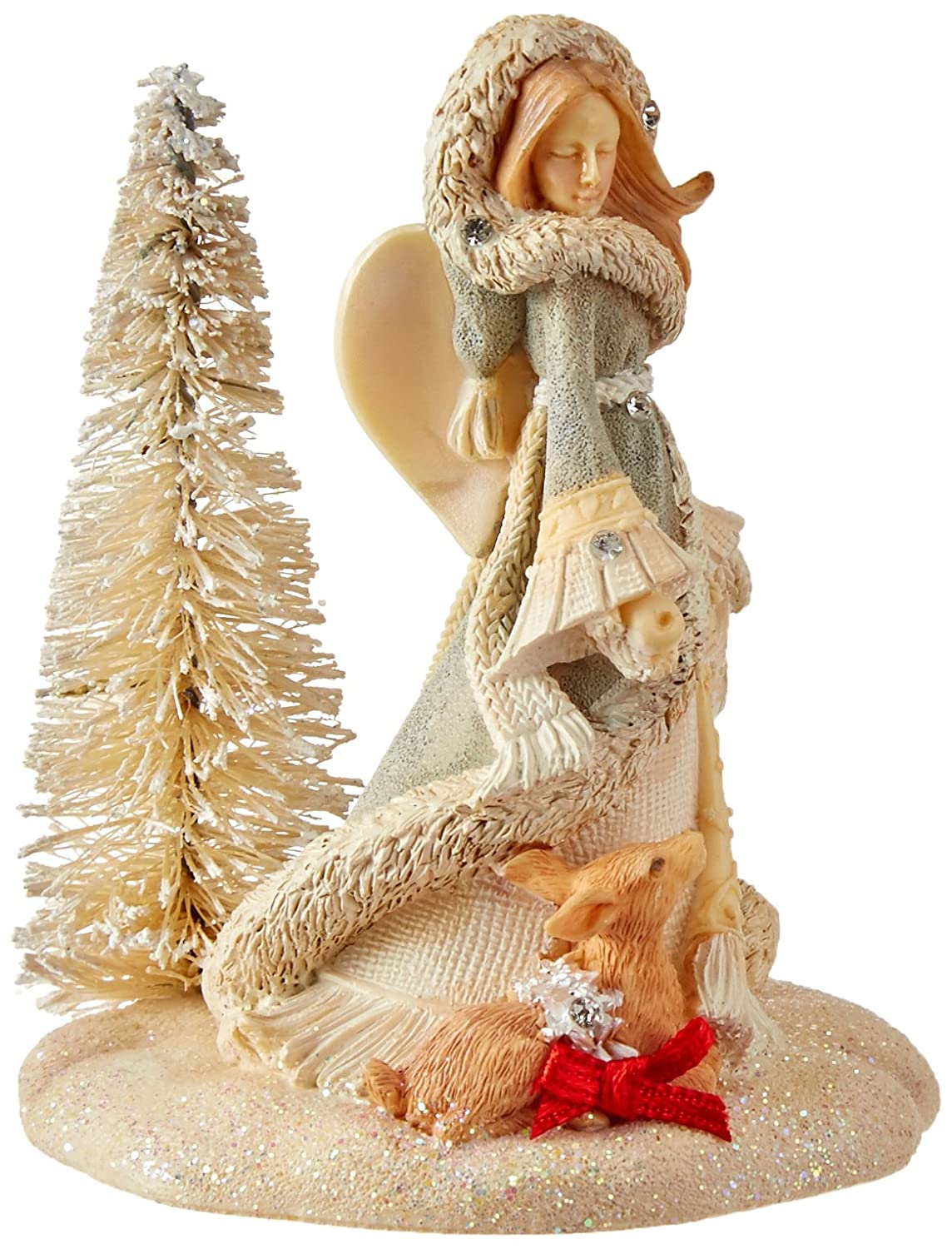 """4/"""" Enesco Gift 4054804 Foundations Angel with Fawn Stone Resin Ornament"""