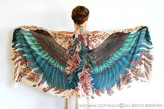 Pure Cotton Exotic Bird Wings Feathers Women's Scarf Shawl