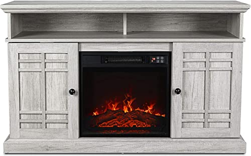 BELLEZE 48 TV Stand Console W Media Shelves for TVs up to 50 Wide with Fireplace, Sargent Oak