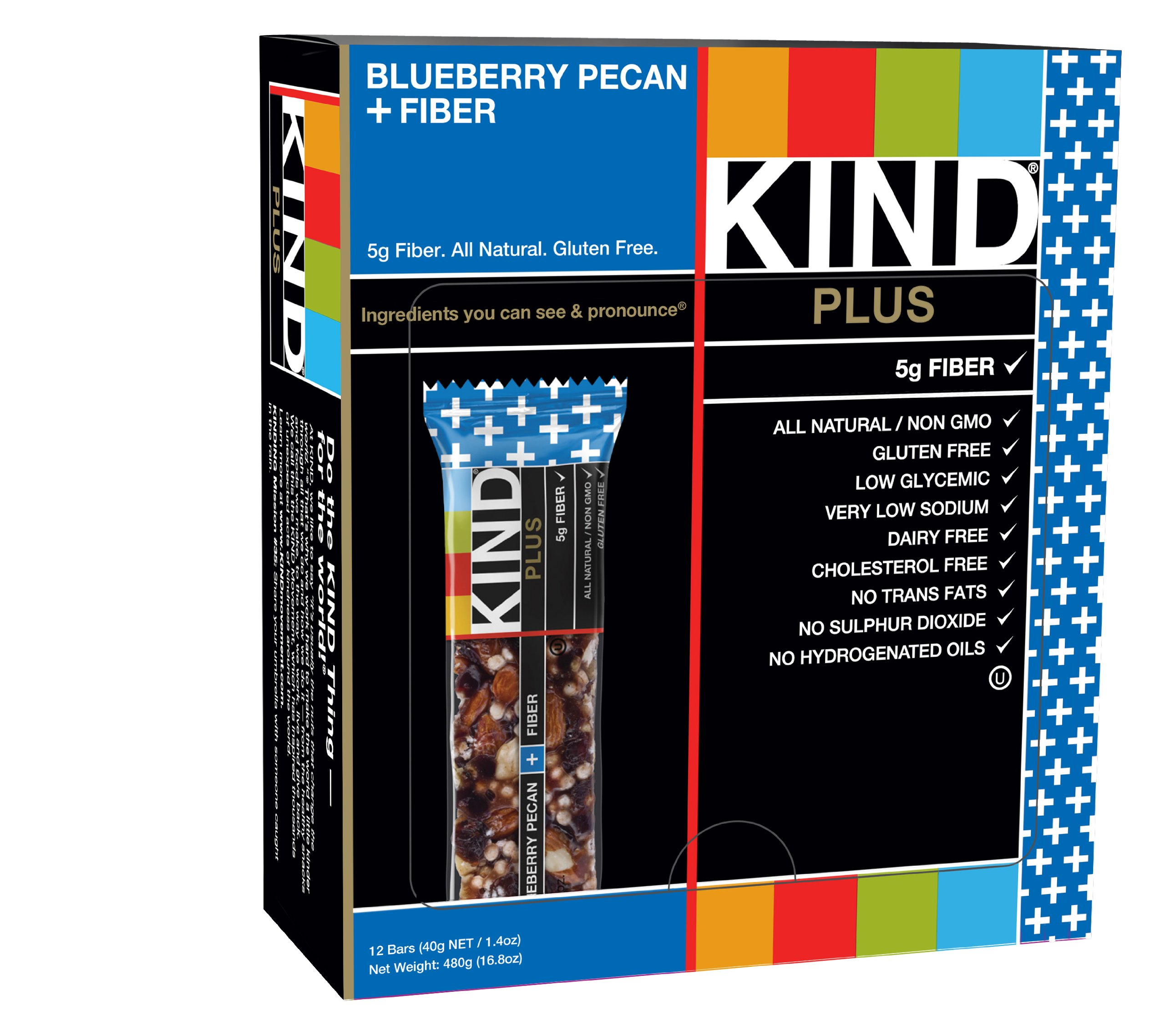 KIND Bars, Blueberry Pecan + Fiber Bars, Gluten Free, 1.4 Ounce Bars, 12 Count