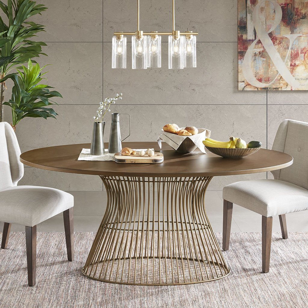 Ink Ivy Mercer Dining Oval Solid Wood Tabletop Metal Wire
