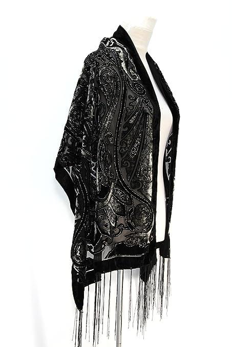 c049b5fb5 Amazon.com: Handmade Elegant Gorgeous Black & Gray Colors Vintage Floral  Beaded Silk Burnout Velvet Shawl Wrap Scarf: Home & Kitchen